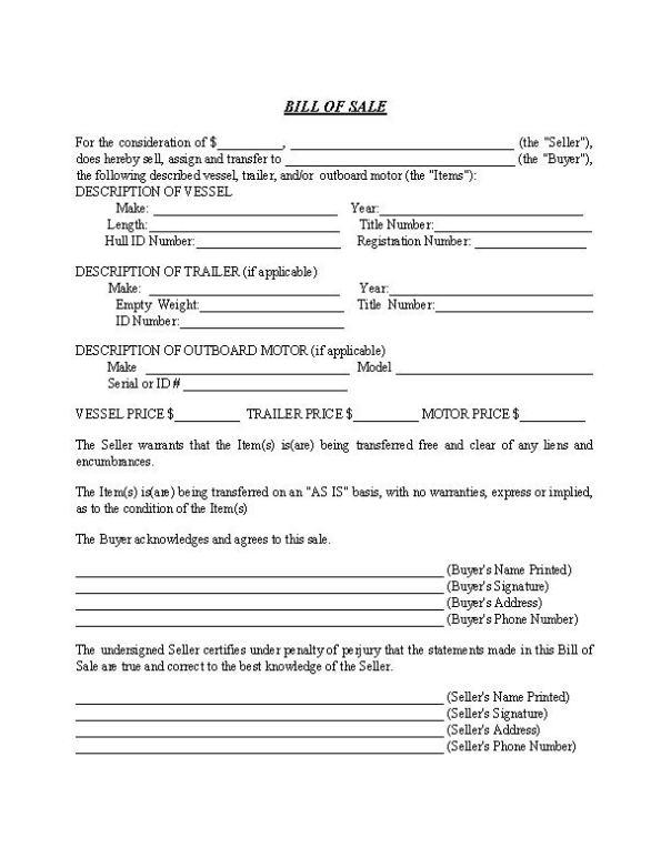 North Carolina Boat Trailer Bill of Sale Form