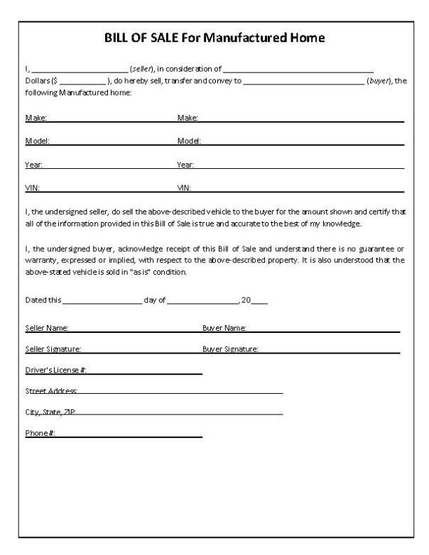 North Carolina Mobile Home Bill of Sale Form