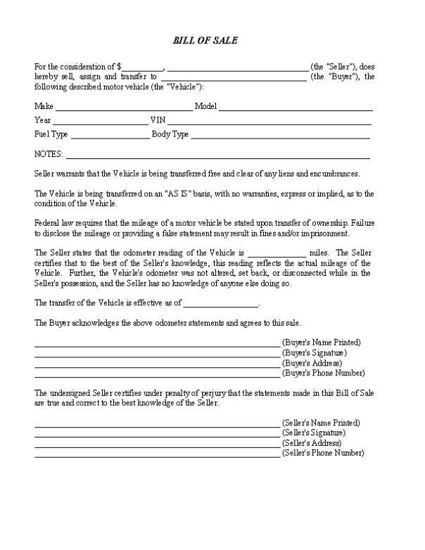 North Carolina RV Bill of Sale Form