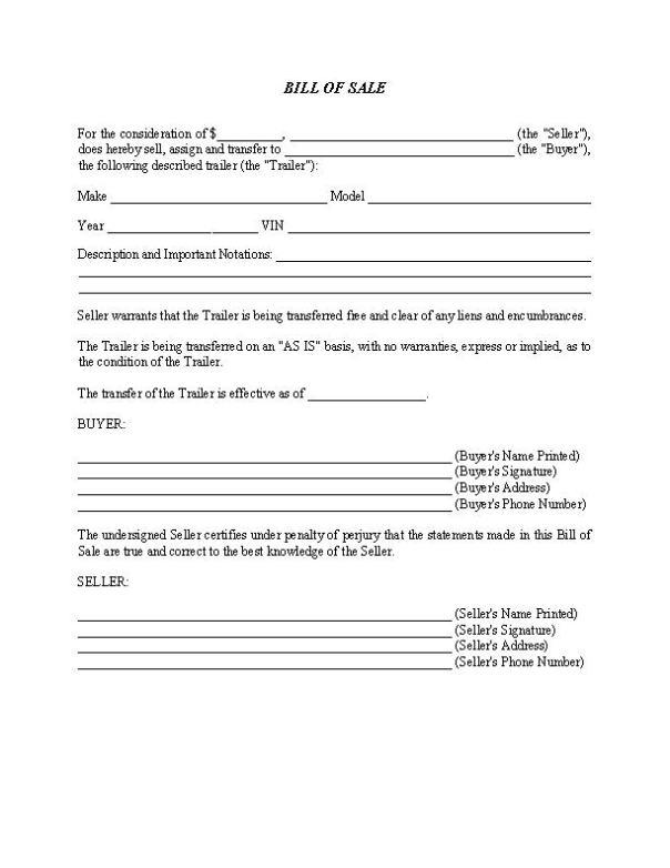 North Carolina Trailer Bill of Sale Form