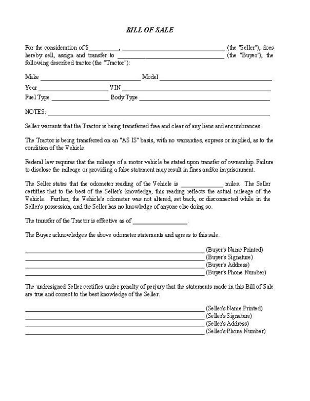 Tractor Bill of Sale Form