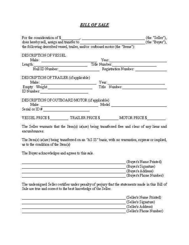Bill of Sale Form For a Boat