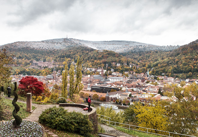 Fall colors with a winter blanketPhilosophenweg overlooking Heidelberg, Germany.