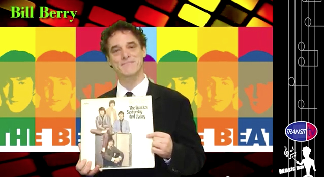 photo collage featuring Bill Berry holding an early Beatles album as part of Bill Berry Transit TV Music Man episode from Los Angeles Metro bus on-board video broadcast