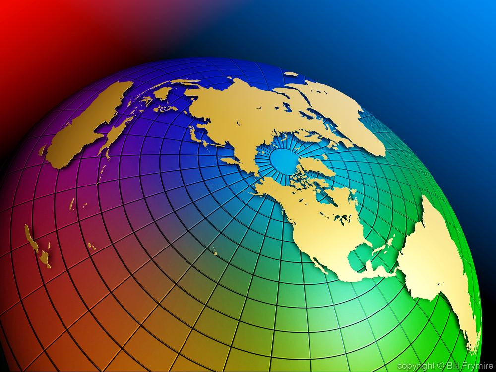 colorful globe polar view