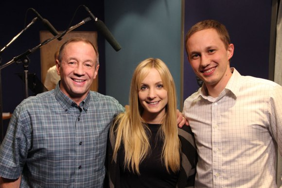 Producers Bill and Nick Heid with Golden Globe winner Joanne Froggatt