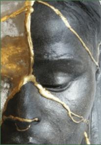 Kintsugi Head 1, by Billie Bond Black stoneware, resin, gold