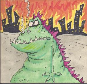 """Bigzilla"" original art by Bill Kopp"