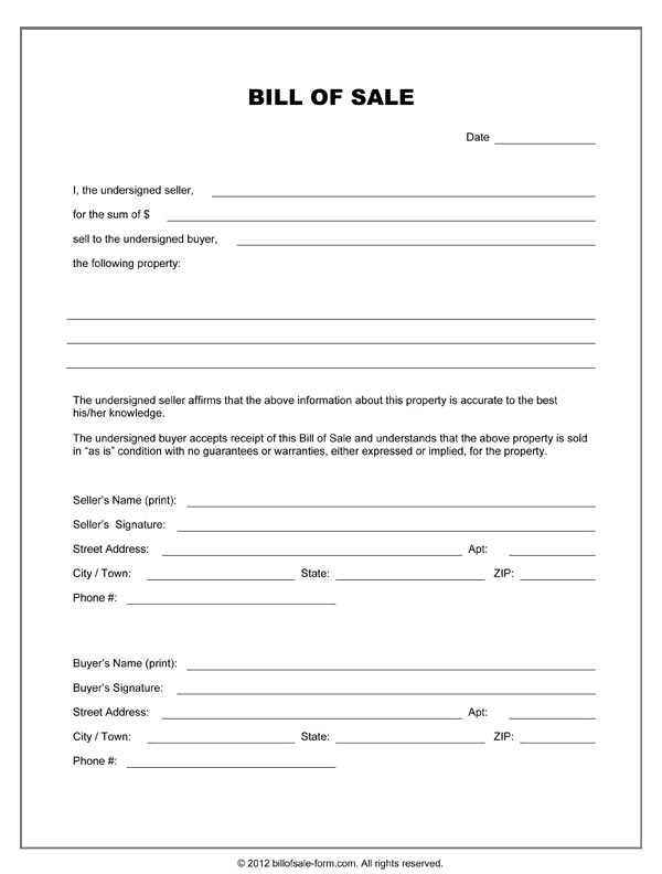 Blank Bill Of Sale Form