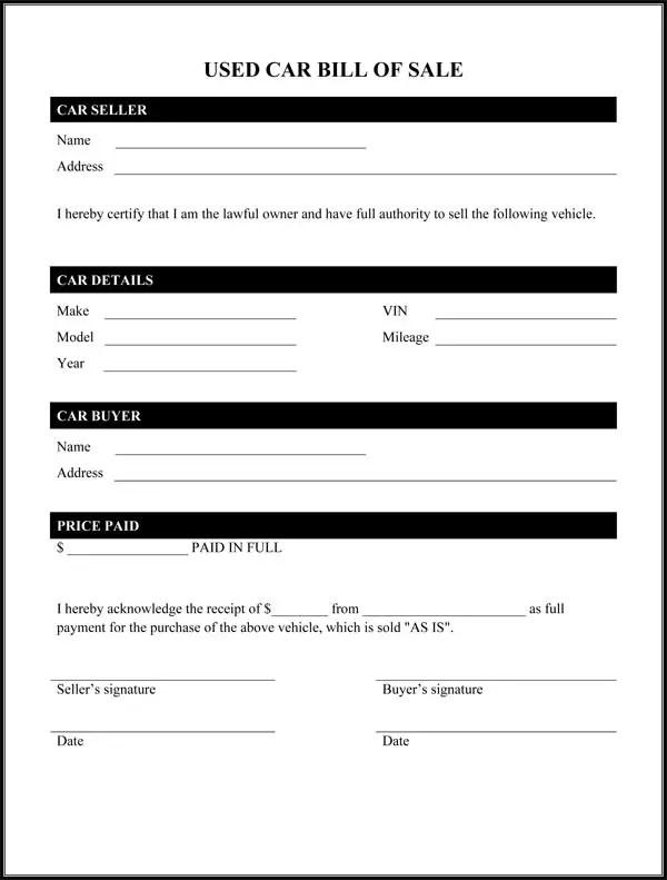 Auto bill of sale form