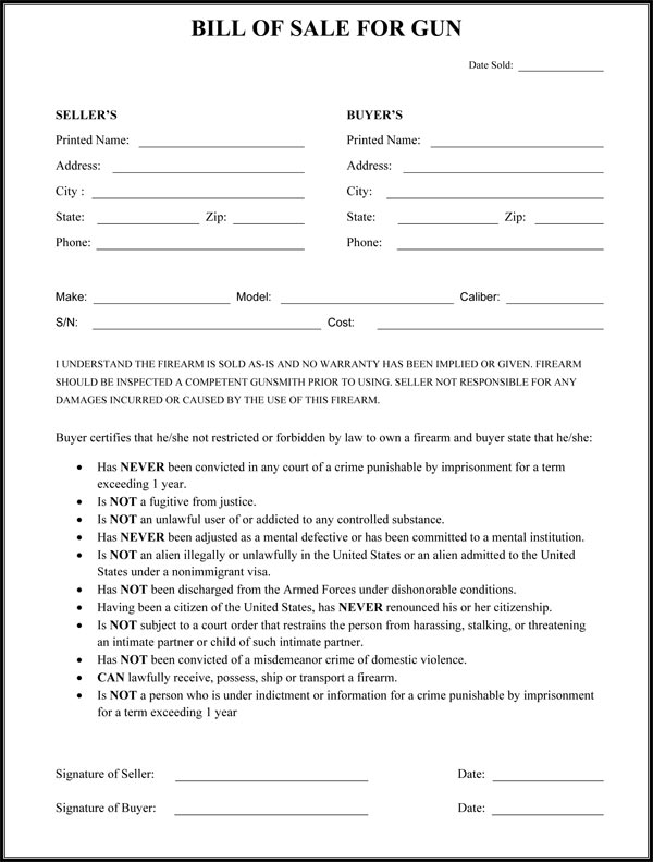 Firearm Bill Of Sale Form Free Download Aashe
