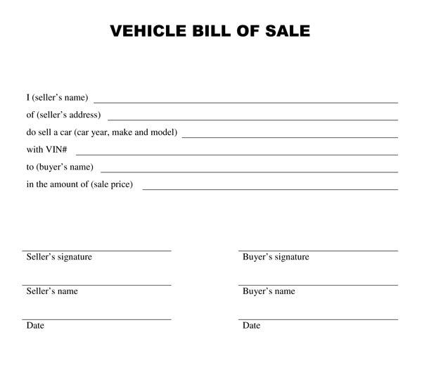 free automobile bill of sale form pdf