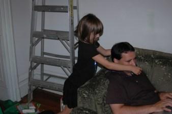 Dad trying to rest despite Helena's best efforts