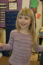 Ada was quite excited to have mom and dad in her classroom despite being a little sick.