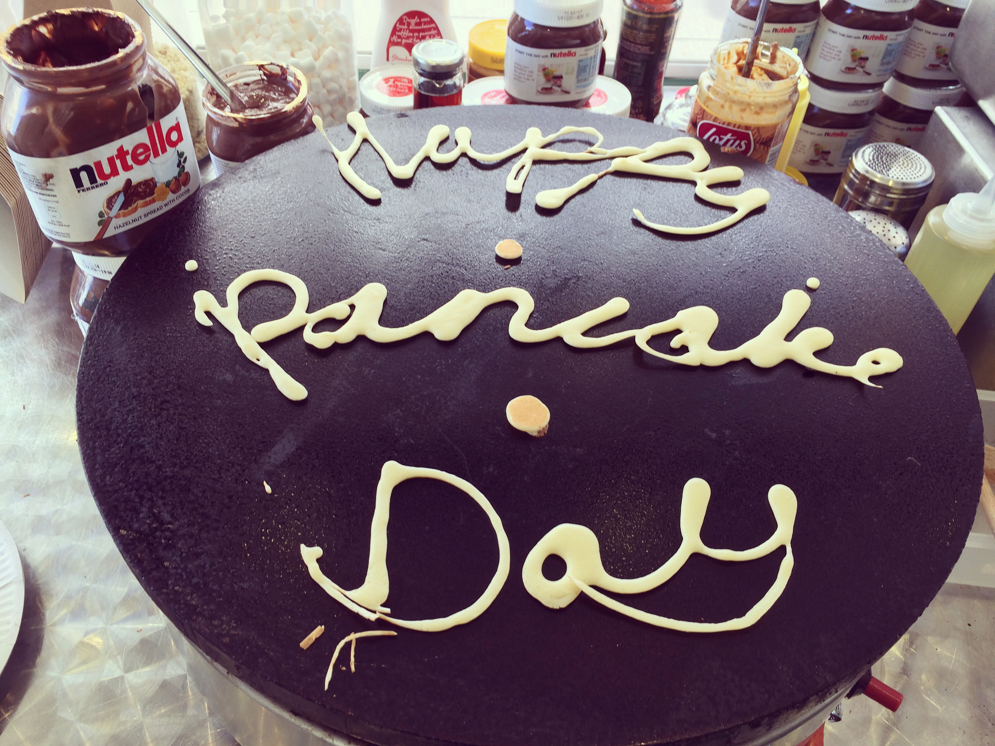Sharing the fun on Pancake Day Crepe Art