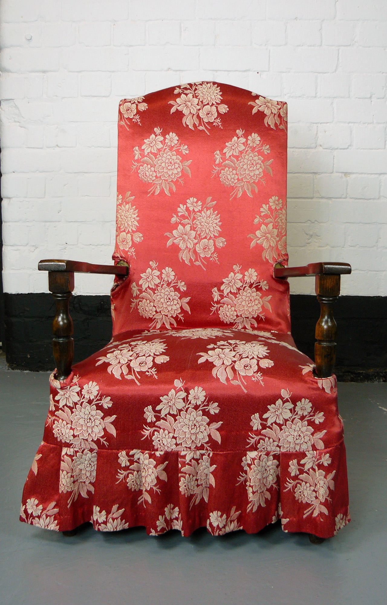Neat Size 1920s Oak Armchair Great Red Chintzy Loose Covers