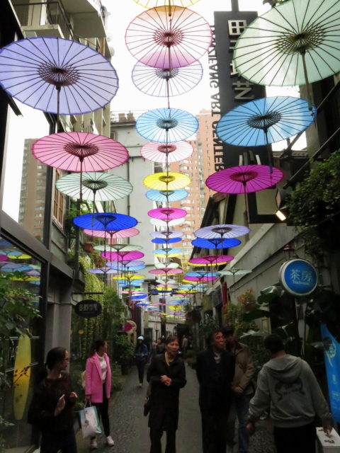 The happiest alley in all Shanghai! Part of Tianzifang, a maze-like district of cute little shopping alleys. French Concession, Shanghai, China, Asia.