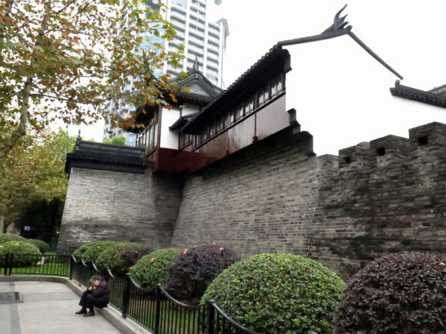 The only remaining portion of the Old City walls. Old City, Shanghai, China, Asia.