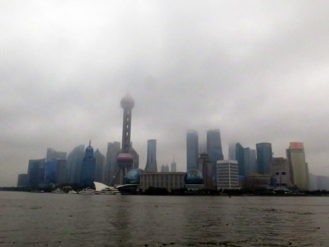 An overcast view of Pudong from the Bund. Pudong, Shanghai, China, Asia.