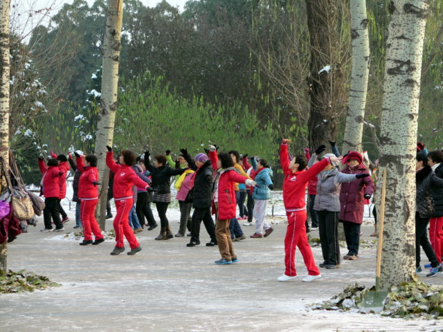 Line dancing for fun and health at the Temple of Heaven, Beijing. China, Asia.