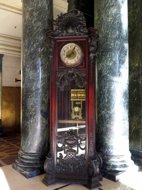 Historic clock in the lobby of the Westin St. Francis. San Francisco, United States, North America.