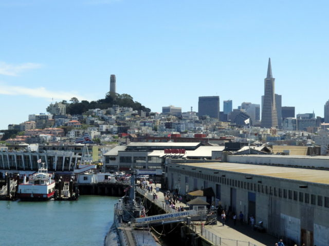 "Beautiful view of Telegraph Hill (with Coit Tower) and the Financial District from the deck of the ""SS Jeremiah"". San Francisco, United States, North America."
