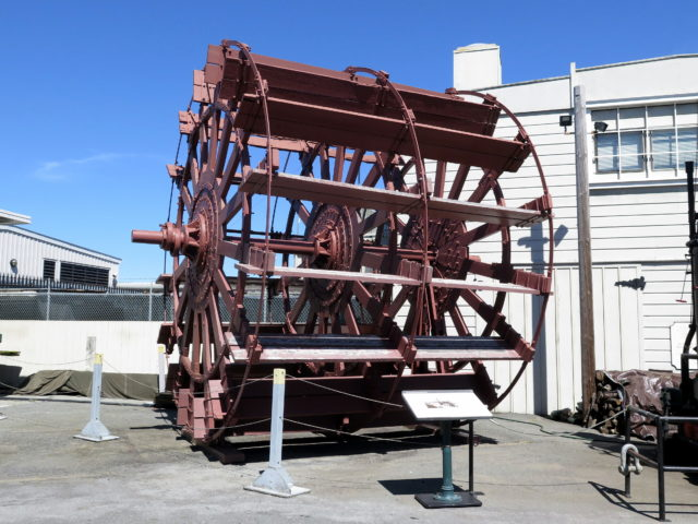 "San Francisco Maritime National Historical Park is loaded with nautical goodies. Here is the sternwheel from the ""Petaluma"", the last of San Francisco's riverboats. The ""Petaluma"" was retired in 1950 and, sadly, burned and sank in 1956. The wheel (18-foot diamter) lives on! San Francisco, United States, North America."