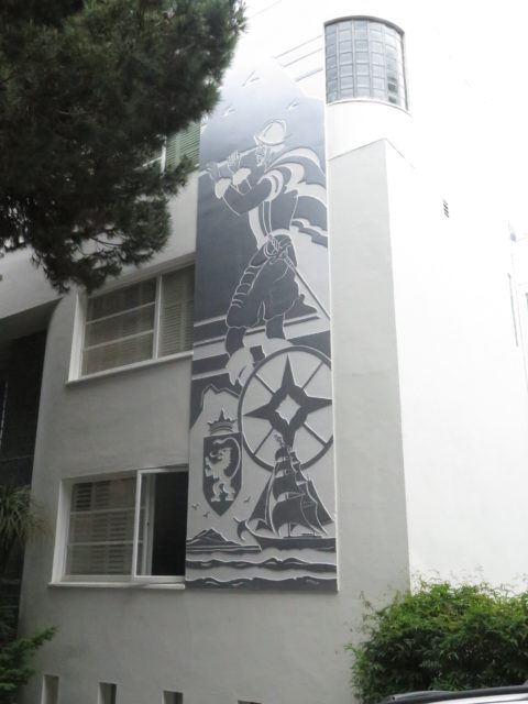 One of the sgraffito figures on the Streamline Moderne Malloch Building (1937) on Telegraph Hill. San Francisco, United States, North America.