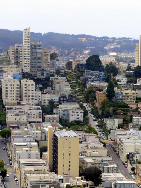 View of crooked Lombard Street on Russian Hill from Coit Tower on Telegraph Hill. San Francisco, United States, North America.