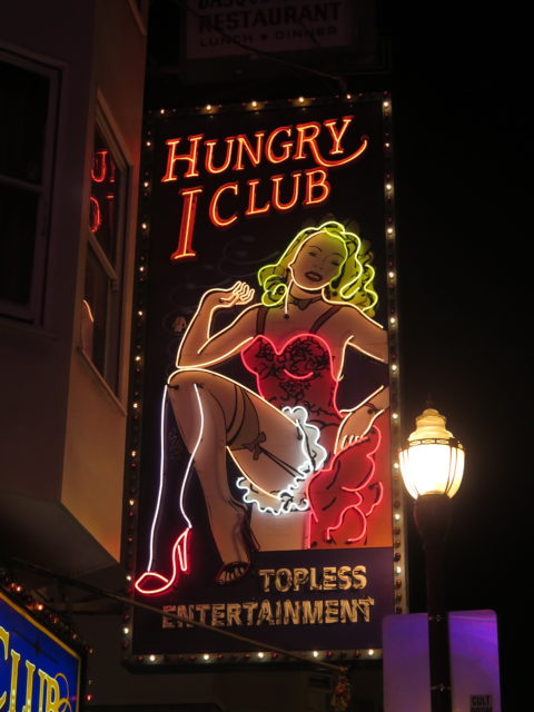 The Hungry I strip club was named in the mid-60s for a nearby nightclub popular in the 50s and early 60s. The nightclub featured such entertainers as The Kingston Trio, Lenny Bruce, Woody Allen, Bill Cosby, and Barbra Streisand (while she was still a beatnik). San Francisco, United States, North America.