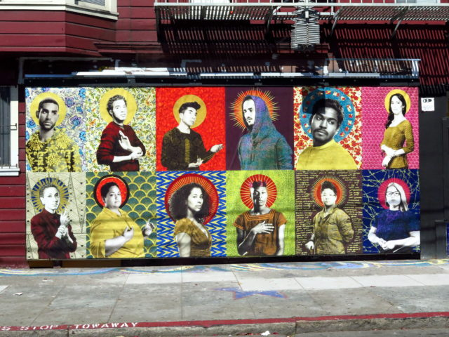 """Queer Icons"" is a ""digital mural"" outside Galería de la Raza, an art gallery and artist collective serving the Latino community. The Galería produces a series of digitally produced murals temporarily on display outside the studio. San Francisco, United States, North America."
