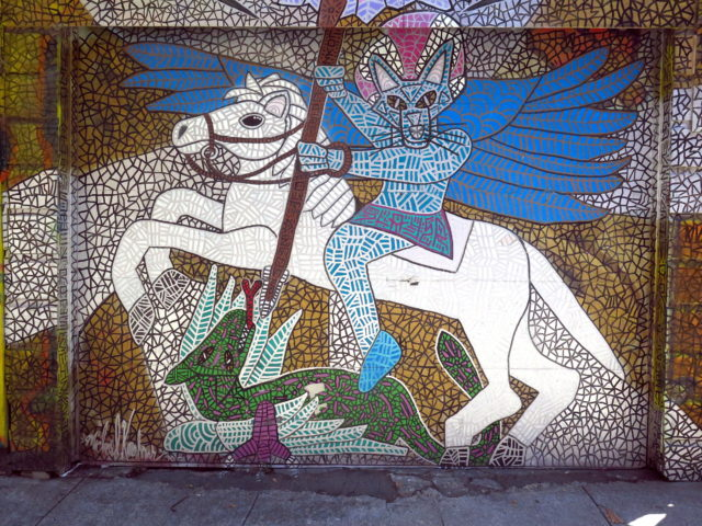 In this interpretation of St. George slaying the dragon, done with a mosaic effect, St. George is (I think) a cat. San Francisco, United States, North America.