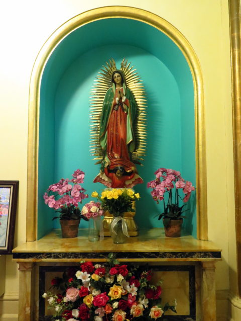 Shrine of Our Lady of Guadalupe in the Mission Dolores Basilica. San Francisco, United States, North America.
