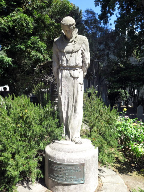 Statue of Father Junipero Serra by California sculptor Arthur Putnam. Junipero Serra, the Spanish missionary who founded Mission Dolores, has a controversial legacy due to the suppression of local native culture and eventual decimation of the population. California, United States, North America.
