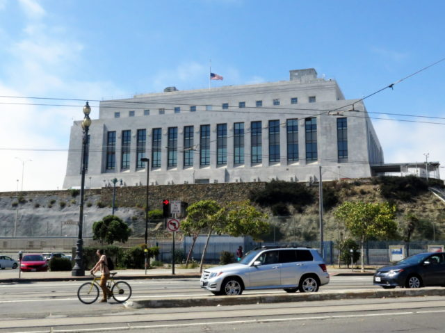 The San Francisco Mint sits across Market Street from the northern end of Dolores Street. It replaced the Old U.S. Mint in 1937 when the older building could no longer keep up with demand. San Francisco, United States, North America.