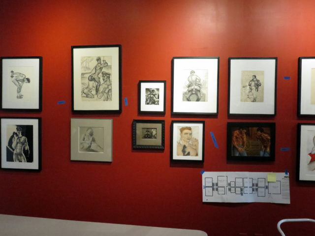 "Selections from ""Stroke: From Under the Mattress to the Museum Walls"", an exhibition of gay erotic art being installed at the time of my visit to the GLBT History Museum. San Francisco, United States, North America."