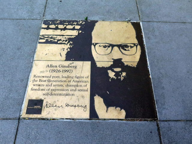 Poet, activist, and Beat Generation icon Allen Ginsberg. We previously learned about Allen at the Beat Museum in North Beach. San Francisco, United States, North America.
