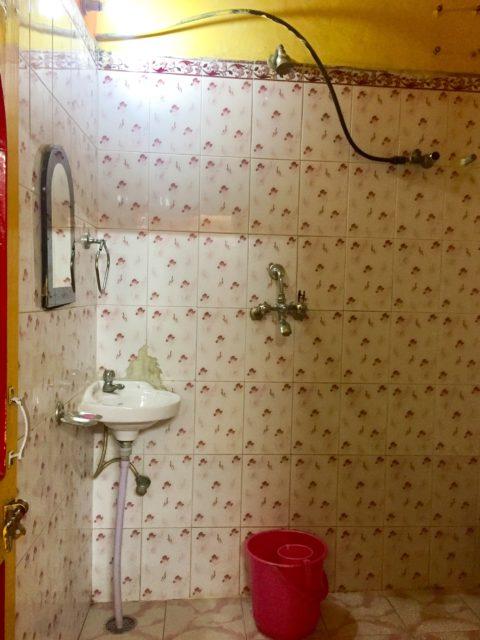 My bathroom in Jodhpur. Shower bucket? Yes. Shower stall? No. Jodhpur, India, Asia.