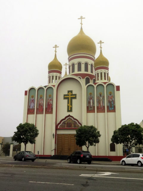 I haven't been to Russia yet, but I have been to the Holy Virgin Cathedral in San Francisco's Richmond District! (I recognized the Russian Cross over the entrance from my visit to the Soviet POW cemetery outside Bergen-Belsen.) San Francisco, United States, North America.