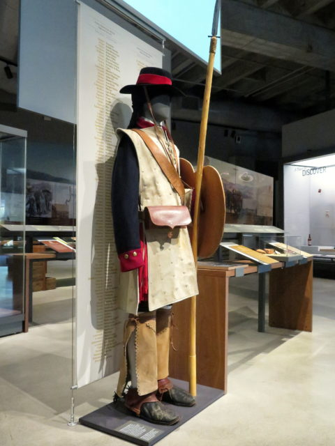 A reproduction of the uniform of a Spanish colonial soldier in the museum at the Presidio Officers' Club. San Francisco, United States, North America.
