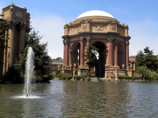 The large rotunda of the Palace of Fine Arts. It's a very pretty site, even if it does seem out of place. San Francisco, United States, North America.