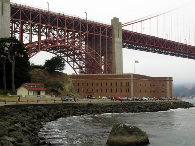 It looks like Fort Point was tucked under the Golden Gate Bridge, but the bridge was built over the fort. Fort Point was built prior to the Civil War. San Francisco, United States, North America.