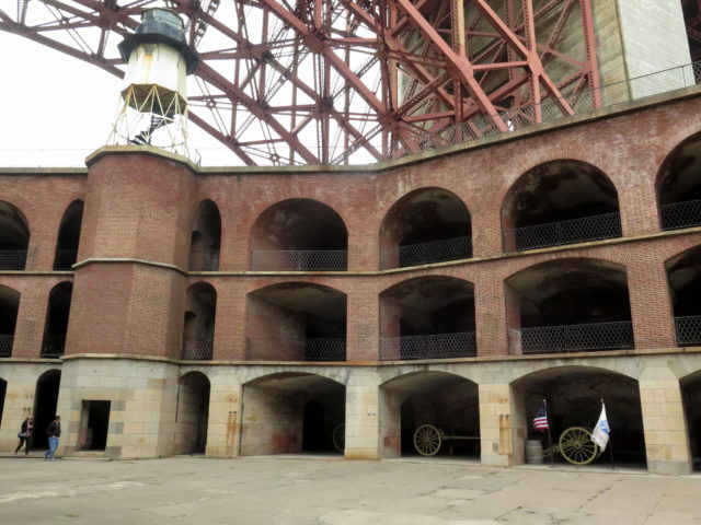 The parade ground and arched casemates on the interior of Fort Point. San Francisco, United States, North America.
