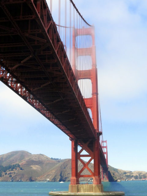 The enviable view of the Golden Gate Bridge from the top level of Fort Point. San Francisco, United States, North America.