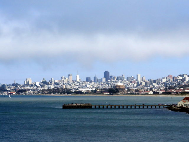 Beautiful view of the San Francisco skyline from Fort Point. San Francisco, United States, North America.