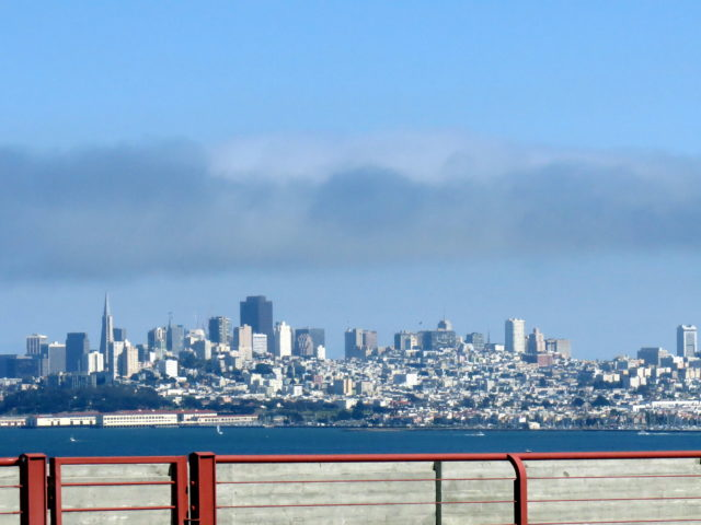 View of the San Francisco skyline from the Golden Gate Bridge. San Francisco, United States, North America.