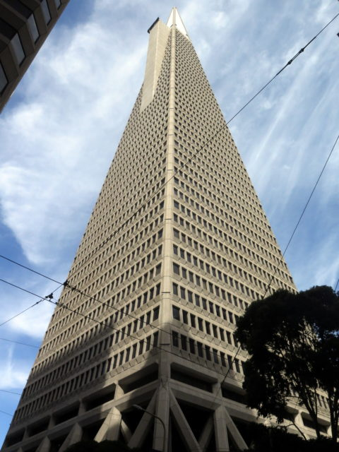 San Francisco's iconic Transamerica Pyramid. For 45 years, it was the tallest building in San Francisco. Briefly, it was the tallest building on the West Coast. San Francisco, United States, North America.