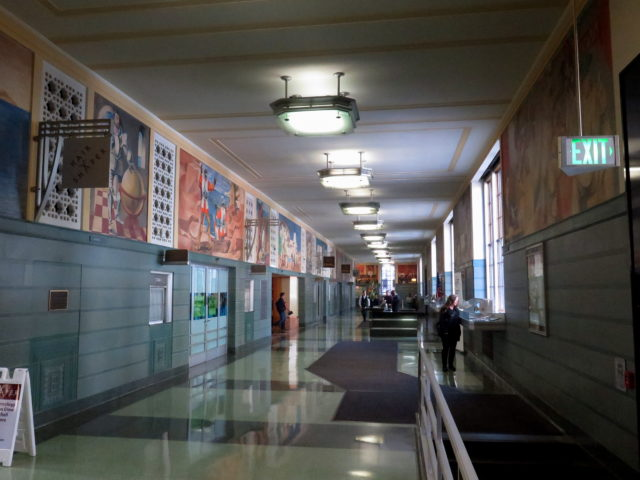 "The murals of ""History of California"" line the walls of the old Rincon Annex post office. San Francisco, United States, North America."