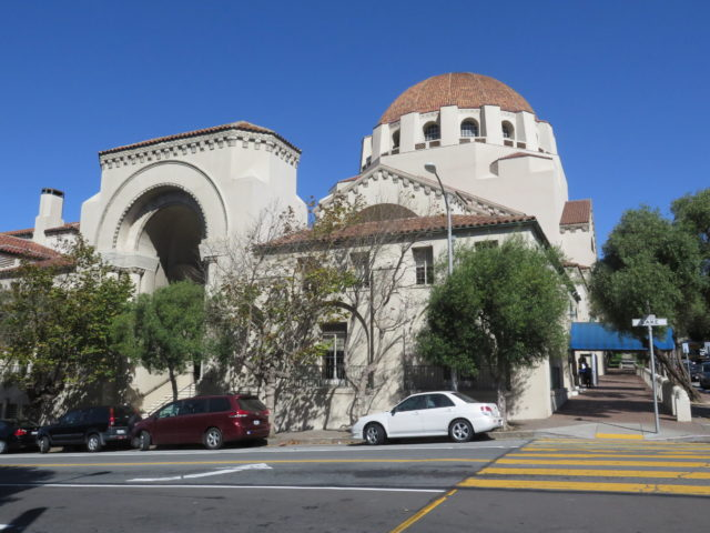 Temple Emanu-El, completed in 1926, is the congregation's 3rd temple. It was built in the Byzantine Revival style with influences from the Mission style. San Francisco, United States, North America.