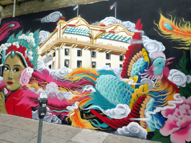 Beautiful Chinatown mural. San Francisco, United States, North America.